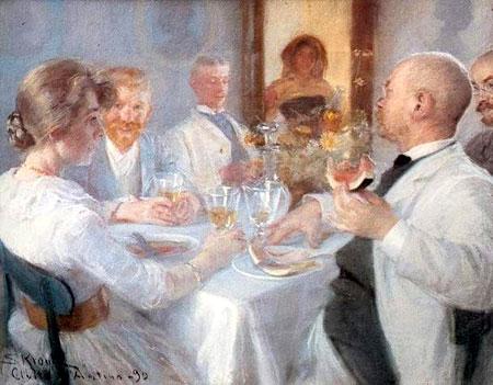 Il pittore alla pensione Flora con i suoi amici